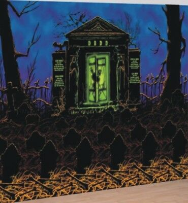 Spooky Crypt Halloween Scene Setter Room Roll Party Complete Decoration - Halloween Decoration Room
