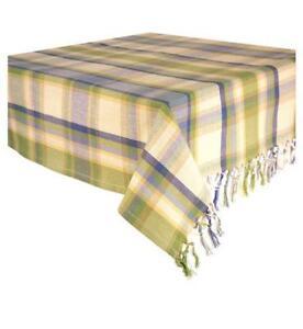 Nice Blue Plaid Tablecloth