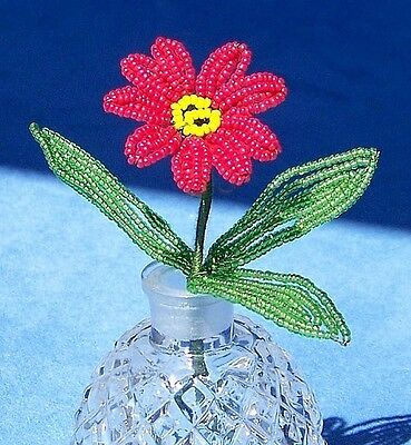 Vintage French Glass Beaded Red Daisy Flower Stem