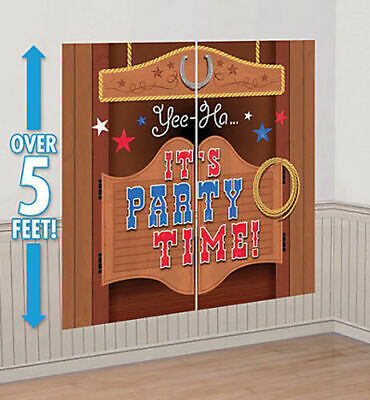 Setter HAPPY BIRTHDAY party wall decor kit 5' saloon stars (Western Scene Setter)