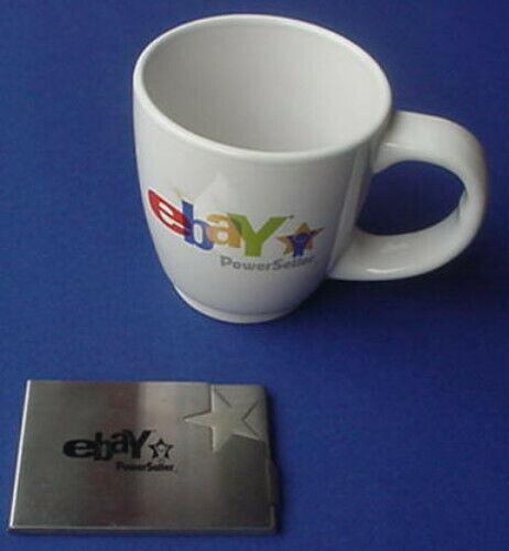 EBAY PowerSeller Recognized Respected Rewarded Mug Cup Business Card Holder Lot