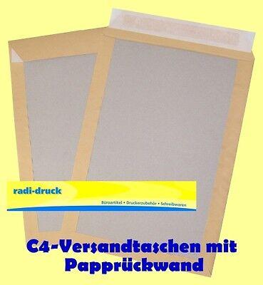 50 Versandtaschen mit Papprückwand DIN C4 braun HKL