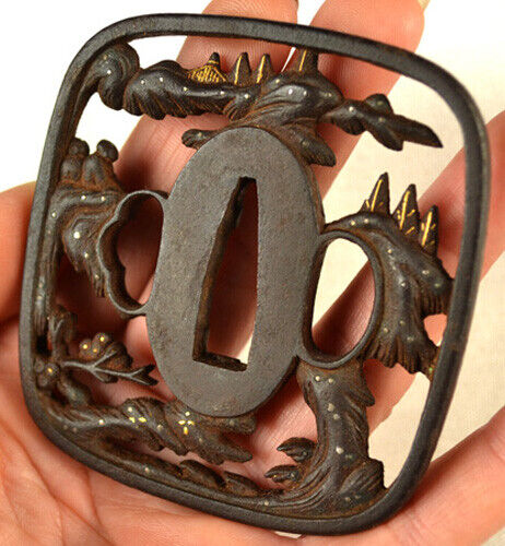 OLD JAPANESE SWORD SOTEN TSUBA GOLD SCHOLARS TEMPLE TREES FORGED IRON