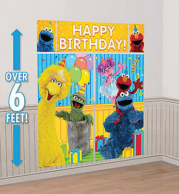 SESAME STREET Scene Setter HAPPY BIRTHDAY party wall decoration kit Elmo Abby - Elmo Party Decorations