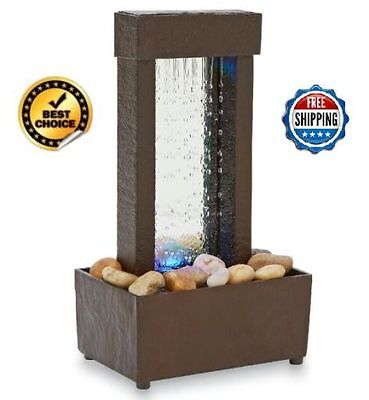 Fountain Mirrored Waterfall Light Color Changing LED Fountain Tabletop Desk