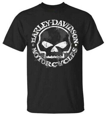 Harley-Davidson Men's T-Shirt, Hand Made Willie G Skull Distressed Black Color