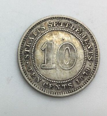 Click now to see the BUY IT NOW Price! 1879 H STRAITS SETTLEMENTS  TEN CENTS  KM11 VICTORIA SILVER NICE  COIN