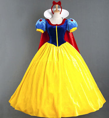 Halloween Cosplay Fancy Dress Princess Snow White Costume for Adult + Petticoat - White Dress For Halloween Costume