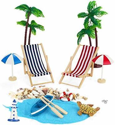 Adkwse Strand-Mikrolandschaft Mini Liegestuhl Sonnenschirm Palme Strand Deko ...
