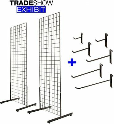 2' x 6' Gridwall Panel Tower with T-Base Display Kit, 2-Pack Black w/ 40 Hooks ()