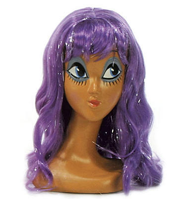 Long Purple Wig With Fringe Katy Perry California Girl Fancy Dress - Purple Katy Perry Wig