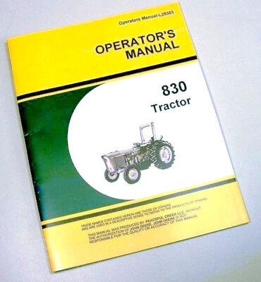 Operators Manual For John Deere 830 Tractor Owners Maintenance Controls