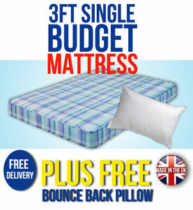 BUDGET MATTRESS 3FT SINGLE CHEAP MATTRESSES WITH FREE