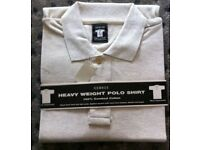 """GEORGE"""" CREAM HEAVY WEIGHT SHORT SLEEVED MENS POLO SHIRT (LARGE) – Brand new"""