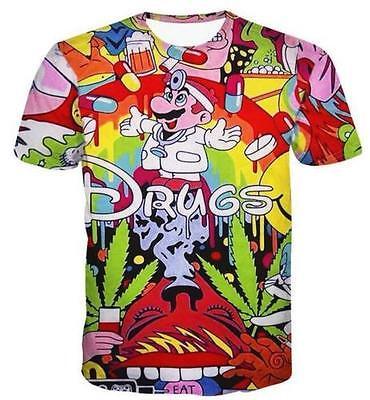 New Fashion Womens Mens Cartoon Drugs Funny 3D Print T Shirt Bf41