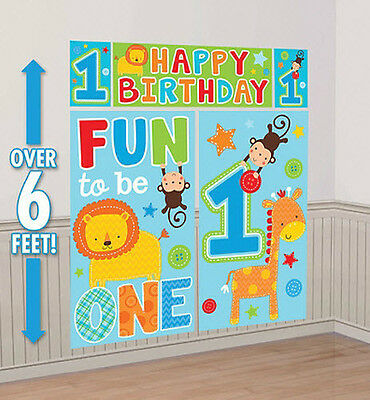 Boy 1st Happy Birthday Scene Setter first Party wall decoration Jungle animals (Jungle Scene Setter)