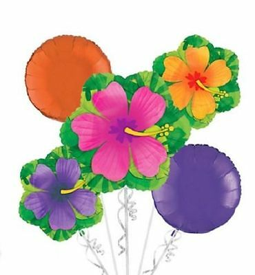 Hibiscus Balloon Bouquet Luau Hawaiian Summer Beach Party Decoration Supply - Hawaiian Balloon Decorations