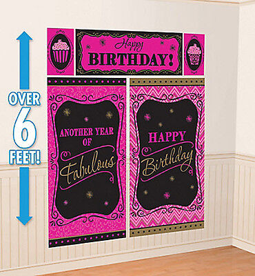 New Year Scene Setter (ANOTHER YEAR OF FABULOUS Scene Setter HAPPY BIRTHDAY party wall decor kit)
