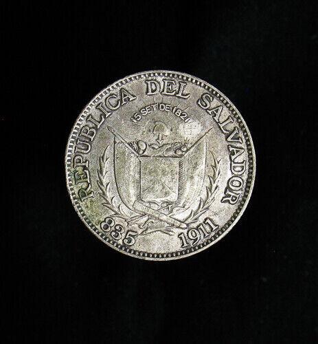 1911 El Salvador 25 Centavos KM# 123 better grade
