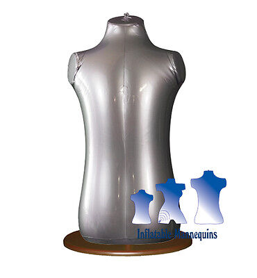 Inflatable Toddler Torso Silver And Wood Table Top Stand