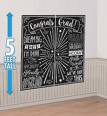 Black And White Party Decorations (GRADUATION party Scene Setter Black & White wall decoration kit CONGRATS)
