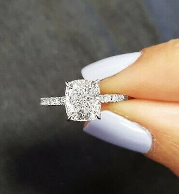 2.05 Ct Cushion Cut Diamond Solitaire with Accents Engagement Ring G VS2 18K GIA