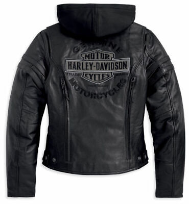 Harley Davidson Women Miss Enthusiast Black Leather Jacket B&S S L XL 98030-12VW