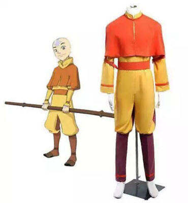 Hot! Avatar The Last Airbender Aang Uniform Cosplay Costume - Aang Avatar Halloween Costume