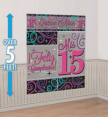 Mis Quince Quinceanera Scene Setter Feliz Compleaños party wall decoration 15](Mis Quince Decorations)