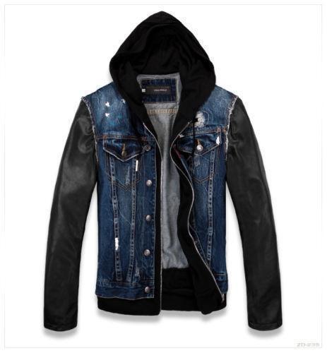 Leather sleeve jean jacket