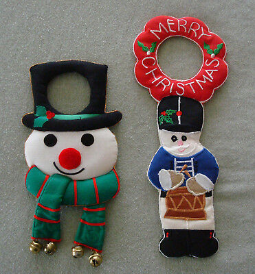 2 Door Knob Christmas Decorations Snowman & Soldier Jingle Bells Cute!