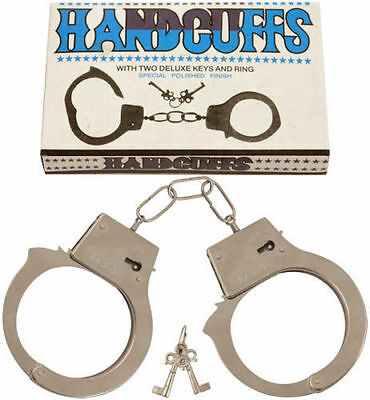 METAL HANDCUFFS FANCY DRESS HEN DO STAG DO KIDS TOYS ROLE PLAY - Metal Kids Kostüm