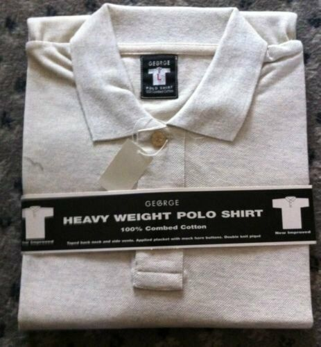 """GEORGE"""" CREAM HEAVY WEIGHT SHORT SLEEVED MENS POLO"""