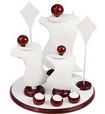 White 9pc Combo Jewelry Counter Top Jewelry Display Set