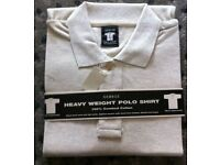 """GEORGE"" CREAM HEAVY WEIGHT SHORT SLEEVED MENS POLO SHIRT (LARGE) – Brand new"