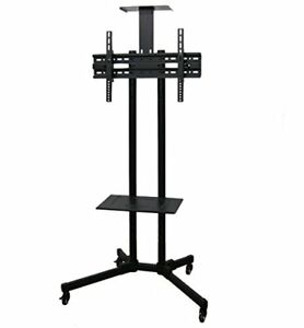 VIVO Black TV Cart for LCD LED Plasma Flat Panel Stand w/Wheels