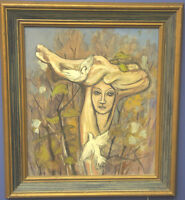 Framed Original Oil on Board Painting Woman With Doves