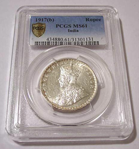 India Silver 1917 (b) Rupee MS61 PCGS