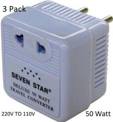 3-Pack 50W Step Down Transformer Travel Converter 220V to 110V 50 Watt Sevenstar