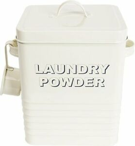 LAUNDRY POWDER STORAGE BOX TABLET CHIC WASHING TIN UTILITY CONTAINER VINTAGE