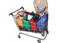 Foldable Shopping Trolley Bags Original Vibe Reusable Set of 4 Strong and Reliable