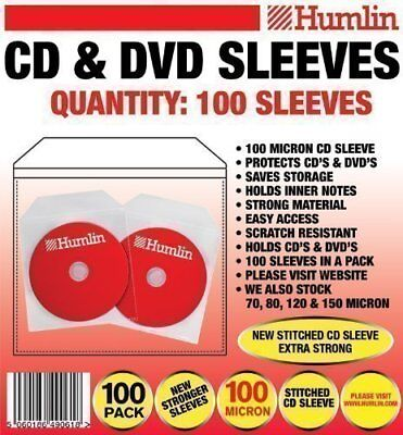 100 X 100 Micron Cd Dvd Sleeves By Humlin