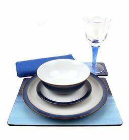 BRAND NEW Denby Imperial Blue 28 Piece Ceramic, Glass and Accessories Tableware Set for 4 Placesetti