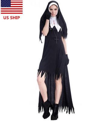 Halloween Costume Nun (US! Adult Dreadful Women Horror Nun Halloween Cross Costume Cosplay Dress Suit)