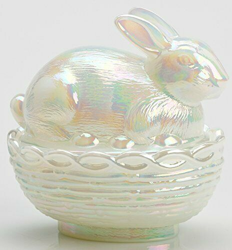 Bunny Rabbit on Basket Covered Dish - Milk Carnival Glass - Mosser USA