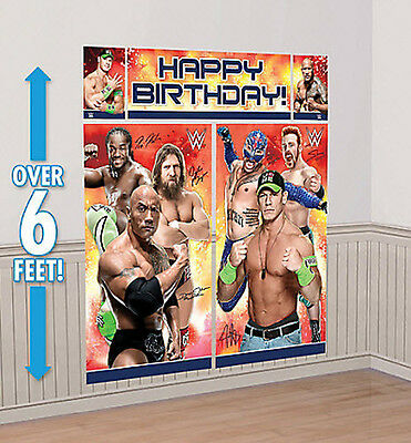 WWE Scene Setter HAPPY BIRTHDAY party wall decor kit over 6' WRESTLING Cena Rock - Wwe Party Decorations