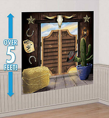 WESTERN TOWN Scene Setter wild west cowboy party wall decor kit 5' saloon - Western Party Decor