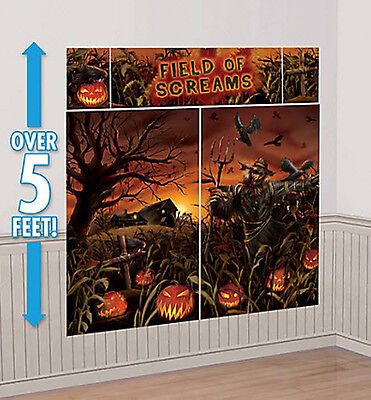 HAUNTED CORNFIELD Scene Setter Halloween party wall decoration kit pumpkins