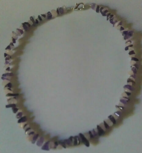"Amethyst and Rose Quartz Necklace 16"" to 34"", Long Necklace"