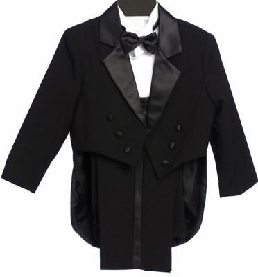 Boys Tailed Penguin Black Tuxedo suit Satin fancy wedding Bow tie vest pants - Black Boys Suits
